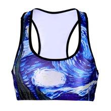 Black Milk 0007 Summer Sexy Girl Women oil paint ocean 3D Prints Padded Push Gym Vest Top Chest Running Sport Bras - NEW socks king store