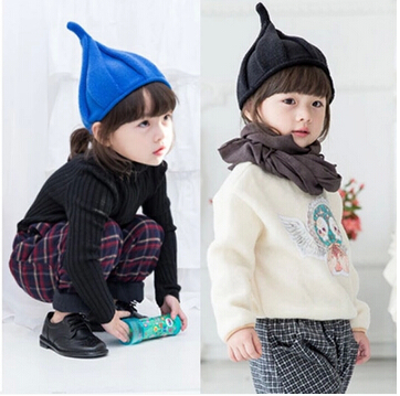 Free shipping 2015 hot Korean girls windmill wool hat children cap painter cap sleeve head cap cute steeple(China (Mainland))