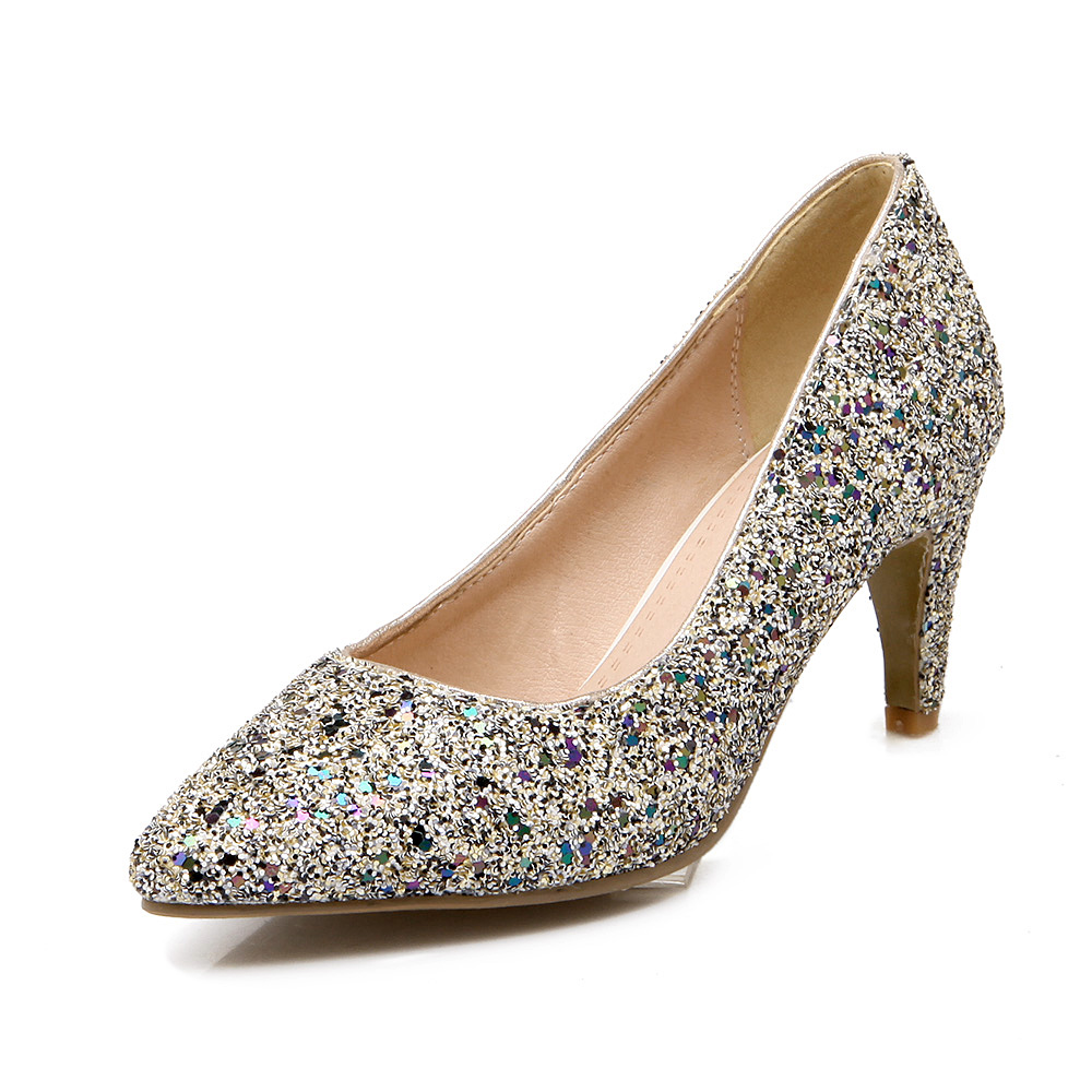 Gold Glitter Mid Heel Shoes