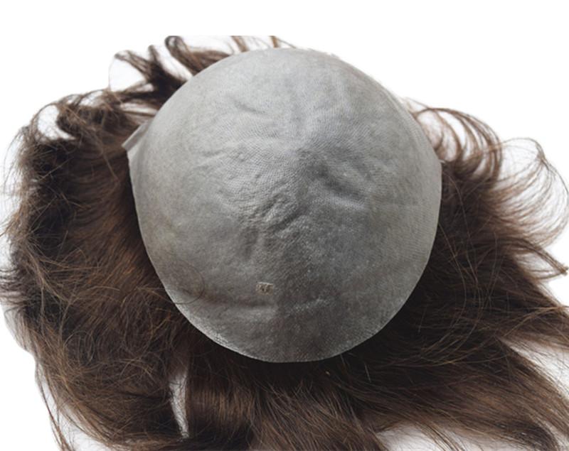 Super Thin Skin Instock 100% Brazilian Virgin Hair Natural Color Black Natural Straight Human Hair Toupee for Men Free Shipping(China (Mainland))