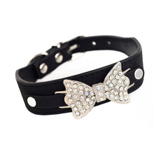 Buy Adjustable Dog cat Collar Bling Crystal Leather Bow Necklace Bling Crystal Bowknot Pet Collar Puppy Choker Size XS S M for $1.72 in AliExpress store