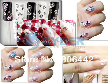 50 x 3D Design Tip Nail Art Sticker Decal Manicure Mix Color Self-adhesive Flower Free Shipping Dropshipping #4 917