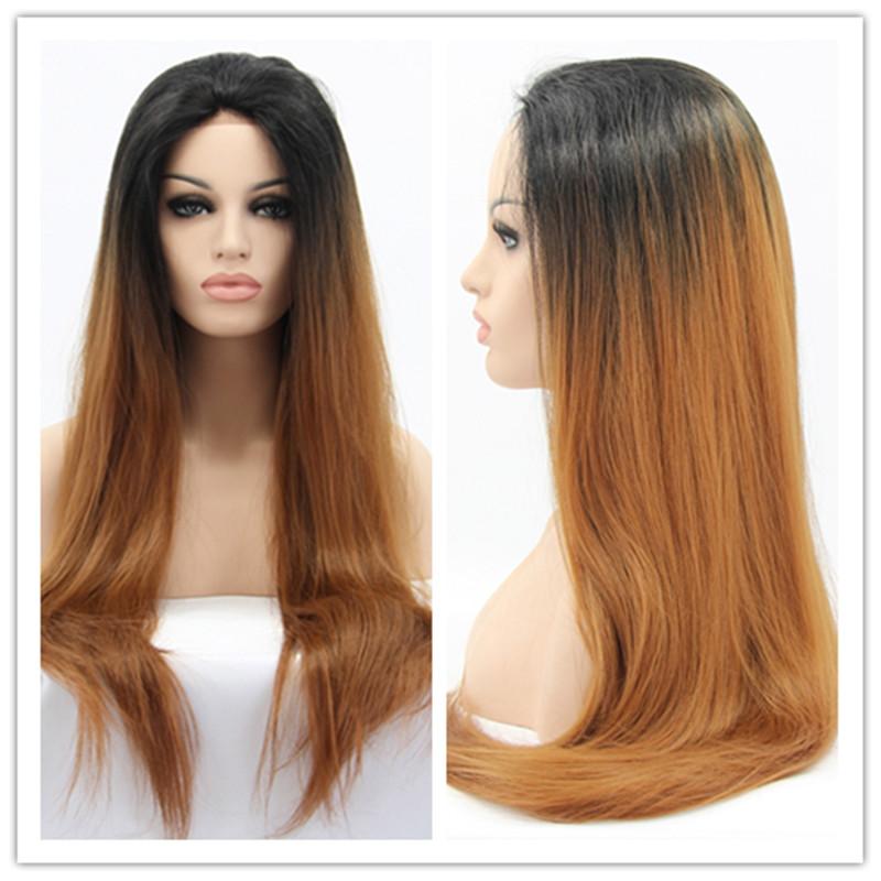 2016 Hot Sale синтетический Wigs for White Women Silk Straight Black to Brown Ombre Термоустойчивый Wigs for Sale