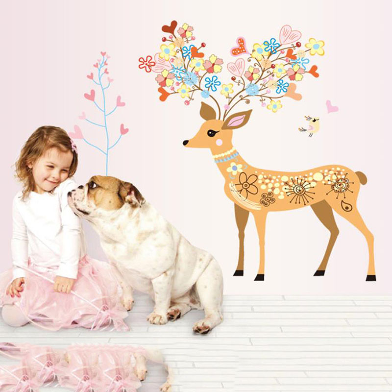 2016 Cartoon Animal Deer 3D DIY Flowers Wall Sticker for Kids Living Room Home Decor Poster Decoration Adesivo Wall Decals Tree(China (Mainland))