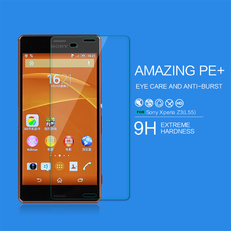 For SONY Xperia Z3 screen protector Anti-blue glass film for sony z3 protective film for sony L55(China (Mainland))