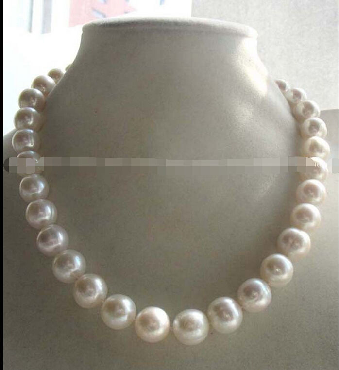 freshwater pearl white round A 11-12mm necklace 17inch ^^^@^Noble style Natural Fine jewe FREE SHIPPING<br><br>Aliexpress