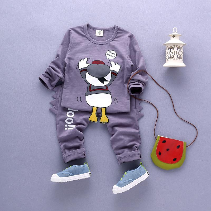 Children's cartoon round neck long-sleeved sweater suit spring and autumn children's clothing 2016 boys two-piece suit tide(China (Mainland))