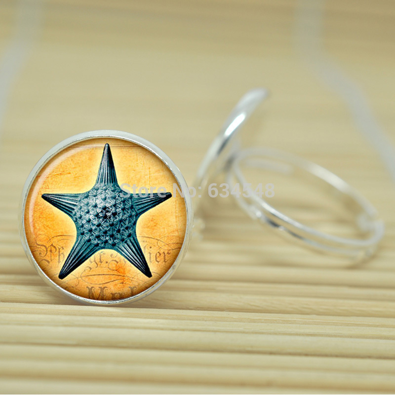1pcs Sea star rings vintage style Sea life jewelry glass Cabochon Adjustable Rings D2022(China (Mainland))