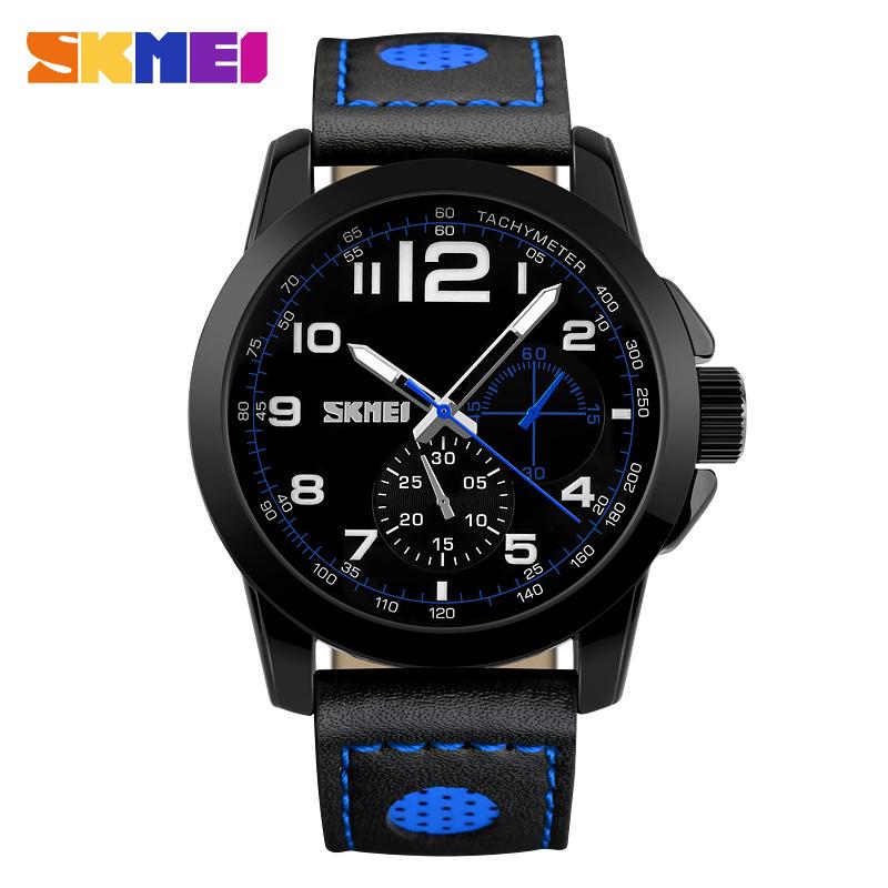 SKMEI Luxury Brand Men Quartz Watches Genuine Leather Waterproof Casual Wrist watches for Man Sport relojes Outdoor Clock(China (Mainland))
