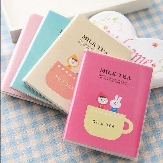 """Milk Tea"" Cute Mini Diary Planner Pocket Journal School Study Notebook Korean Agenda Notepad Free Memo Tiny Note Gift(China (Mainland))"