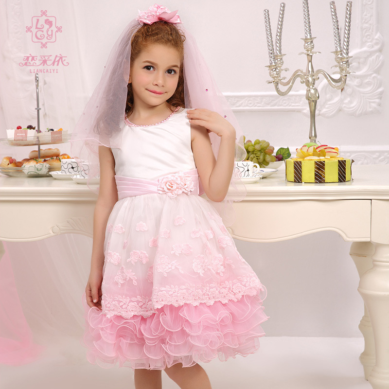 New Arrived Kids Frock Designs Dress Flower Girl Dresses Communion Girl Dress Patterns(China (Mainland))