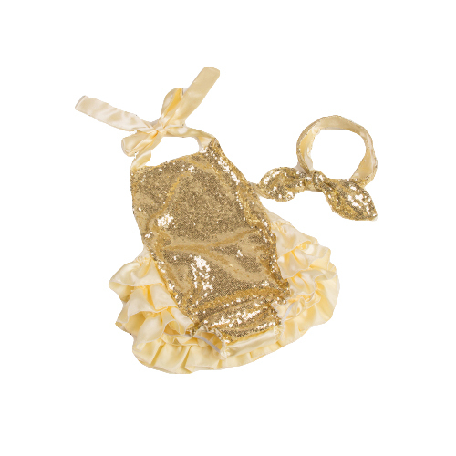 New gold sequins ruffle bubble romper for baby girls fashion newborn toddler summer rompers clothes(China (Mainland))