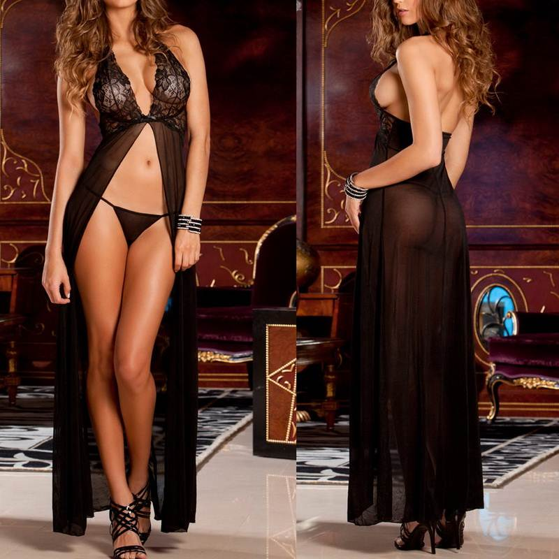 Sexy Lingerie Women Transparent Lace Baby Doll Dress G-string Babydoll Erotic Costumes Sleepwear Sexy slit skirt black purple(China (Mainland))