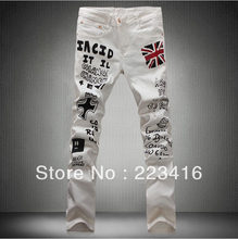 New men british flag white vintage jeans pants casual graffiti white trousers mens skinny camouflage jeans pants(China (Mainland))