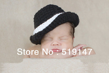 Free shipping new coming black gentleman style baby hat handmade crochet photography props newborn baby cap