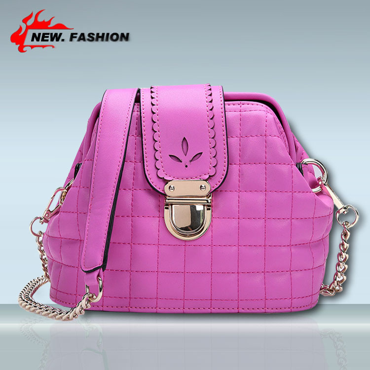 6 Colors 2015 Women Genuine Leather Handbags Messenger Bags Fashion Quilted Plaid Shoulder Bags Cross Body Bag Free Shipping(China (Mainland))