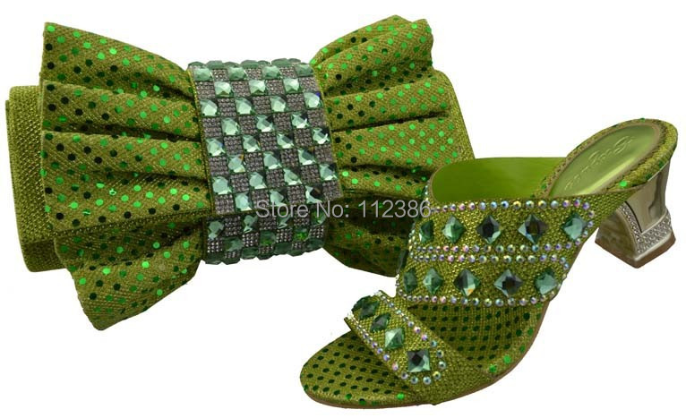 shoe matching bag set DHL green size 38-42 - African Fashion clothing store