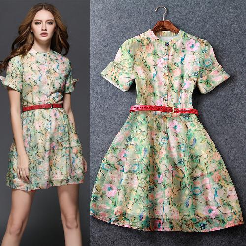 2015 summer style ladies new big brand fashion runway floral women dresses slim elegant silk printing short sleeve slim dress(China (Mainland))