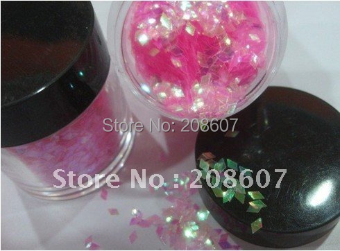 Free shipping  12 pots/set  Rainbow Color Diamond Shape Rhombus Glitter Spangle Nail Art
