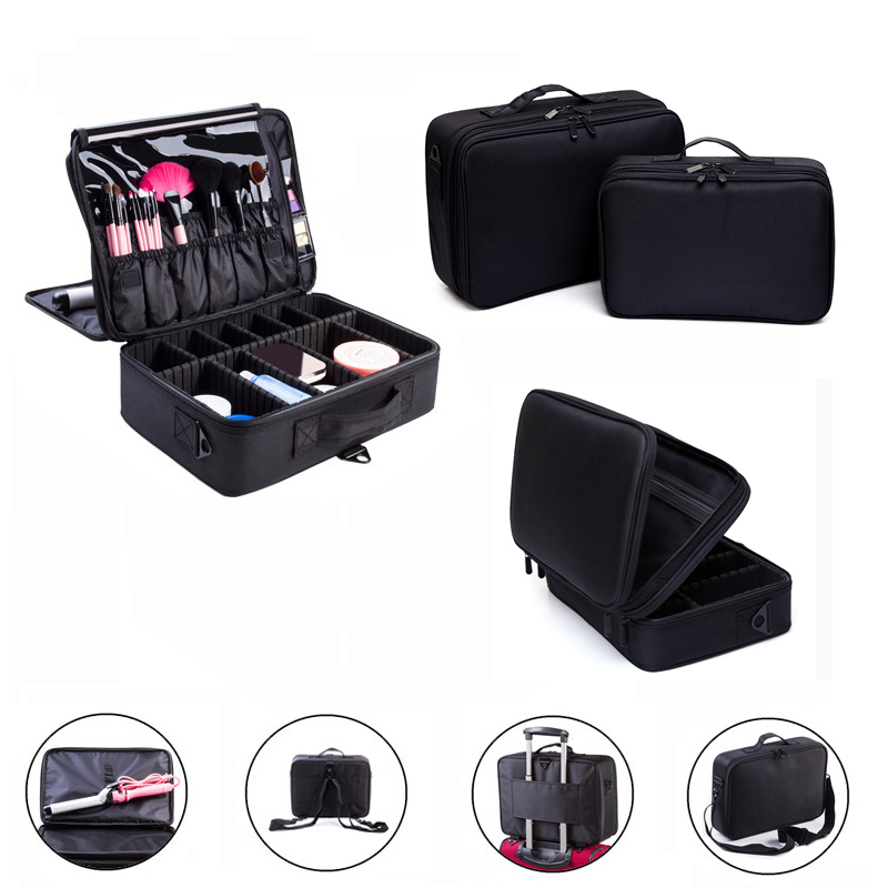 Makeup Bag Makeup Box Multilayer Cosmetic Bag Waterproof Oxford Professional Cosmetic Case Makeup Organizer Travel Pouch Bags(China (Mainland))