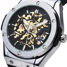 2016 new fashion men male clock sewor brand stylish rubber design classic automatic mechanical wrist dress skeleton watch gift(China (Mainland))