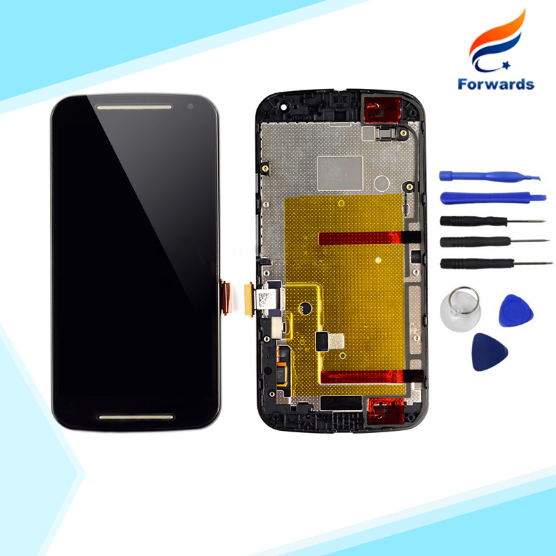 100% Tested For Motorola MOTO G2 G+1 XT1063 XT1068 XT1069 LCD Screen Display Touch Digitizer Assembly with Frame Free Tools 2015(China (Mainland))
