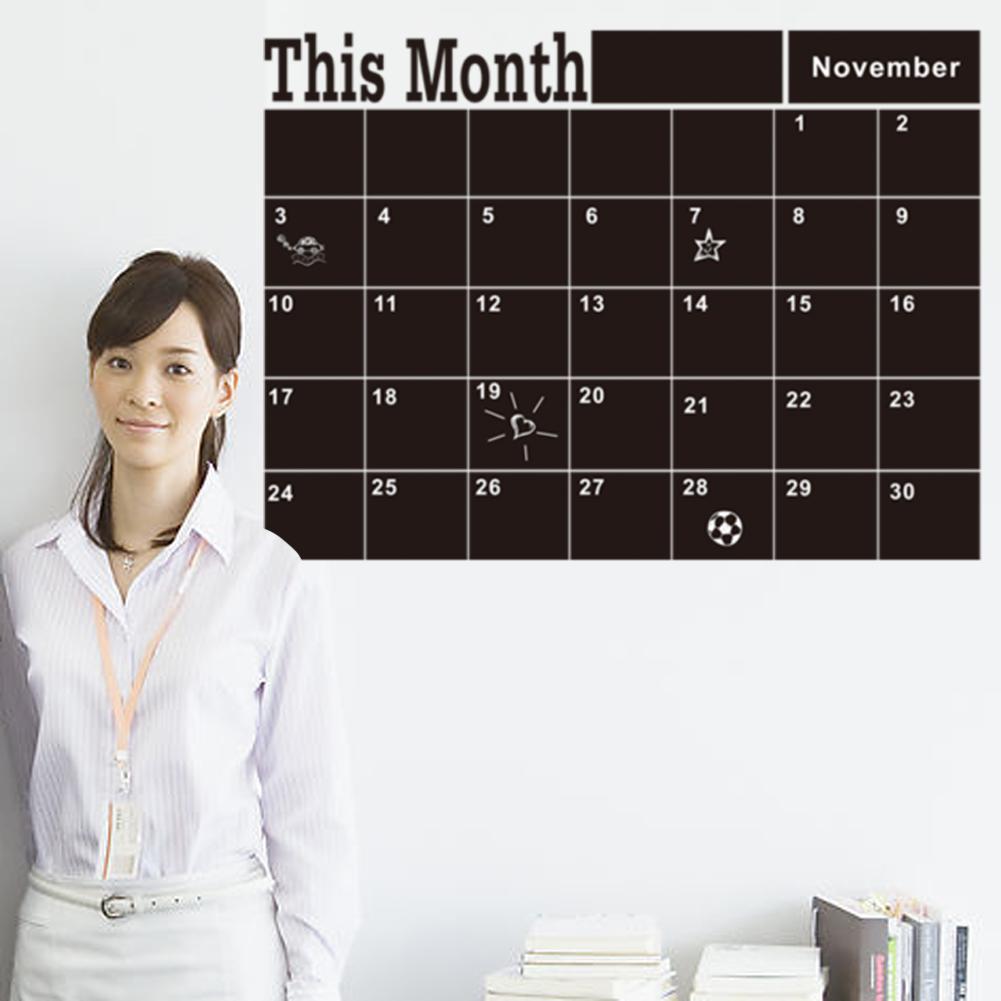 Pizarra mensual pizarra pared de vinilo pegatinas decoraci n plan mes calendario pizarra diy - Pizarra calendario ...