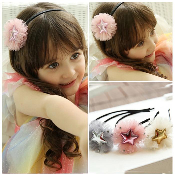 20pcs/lot Cute Princess PU Shining Star+Lace Flower Headbands Headdress Birthday Christmas Party Costumes Kids Favor(China (Mainland))