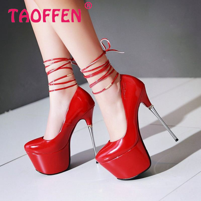 women stiletto high heel shoes platform sexy spring patent leather ankle strap footwear fashion pumps shoes size 32-43 P22830