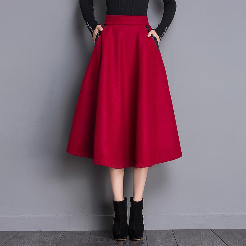 2016 Winter Long Skirts Fashion Solid Color Pleated Female High Waist Skirt Women Ankle-Length Long Skirt Retro Stylish Saias(China (Mainland))