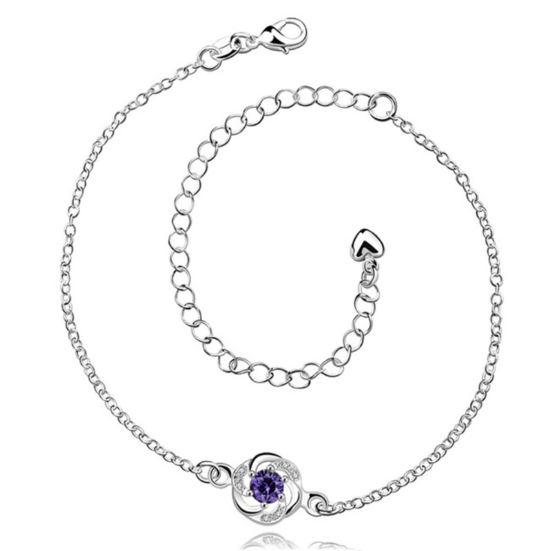 Silver anklets with Austrian crystal purple sweet style fashion jewelry for women cheap global hot(China (Mainland))