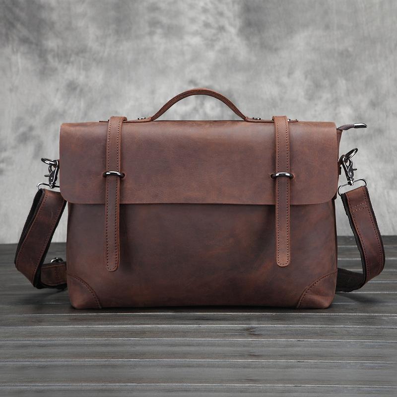 Фотография Genuine Leather Men Bag Vintage Shoulder Bag Cowskin Business Bag Retro Handbag Man High Quaity Portfolion Travel Crossbody Bag