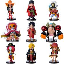 100% brand new Japan anime 9pcs one piece Luffy Zoro Franky Brook Usopp ect group pvc figure toys tall 7~9cm set