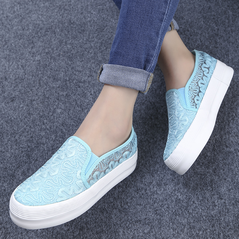 Summer fashion female girl canvas shoes hollow breathable shallow mouth low top casual lazy sexy women's loafers081 - Online Shoes Shop store