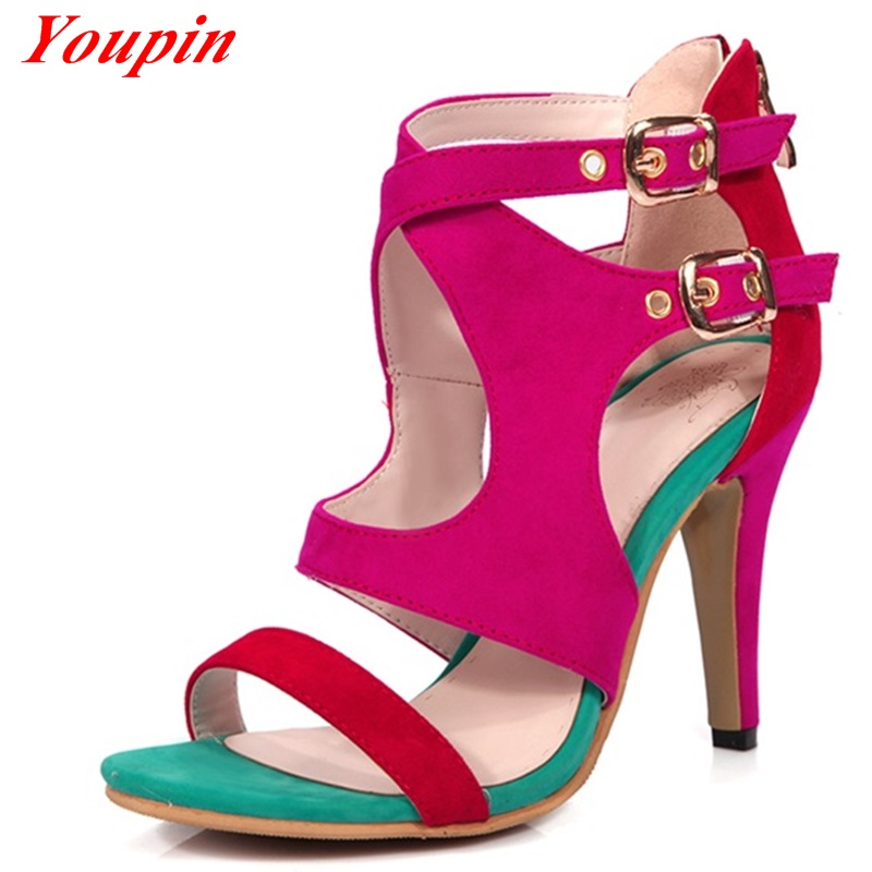 Mixed Colors Thin Heels 2016 Fashion Party Sandals Nubuck Leather Gladiator Sexy Woman Fine heel Rome Shoes Big Size 33-43 Pumps<br><br>Aliexpress
