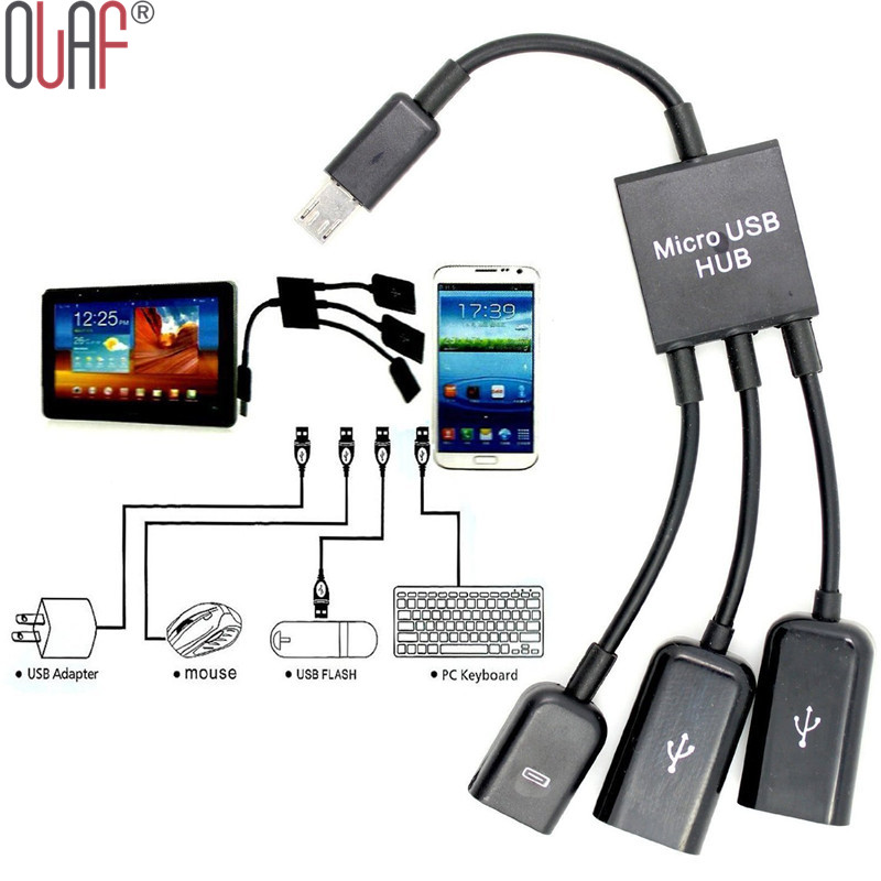 3 in 1 Micro USB HUB Male to Female and Double USB 2.0 Host OTG Adapter Cable For Samsung(China (Mainland))