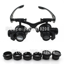 Free shipping LED headband magnifying glasses type Binocular Magnifier 10x 15x 20x 25x FOR Watch PCB working Repair(China (Mainland))