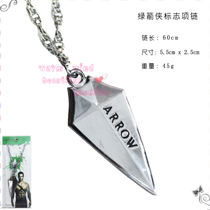 Retail 1pcs DC Superhero silver Green Arrow Pendant Necklace Metal Figure Toy Fashion Necklace for The Avengers Logo Necklace(China (Mainland))