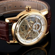 Luxury Fashion 2016 New Vintage Watches Stainless Steel Case Men Leather Mechanical Skeleton Watches FSN289(China (Mainland))