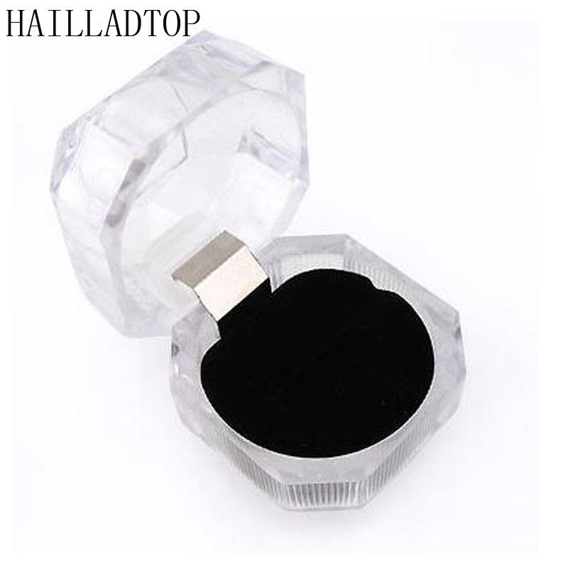 1.5'' Elegant Useful 1pc Acrylic New Transparent Rings Earring Display Box Organizer Wedding Lady Case Hot Jewelry Storage Box(China (Mainland))