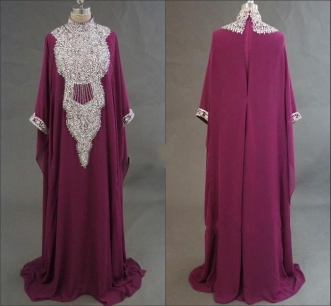 2015 Custom made arabic evening dress for women ME115 beading high neck abaya dress in dubai plus size(China (Mainland))