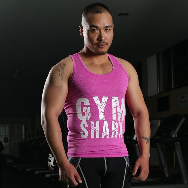 New Brand Clothing Athletic Slim Fitted Cotton Gym Clothing Men's Tank Tops Sexy Gymshark Men's Fitness Sport Vest(China (Mainland))
