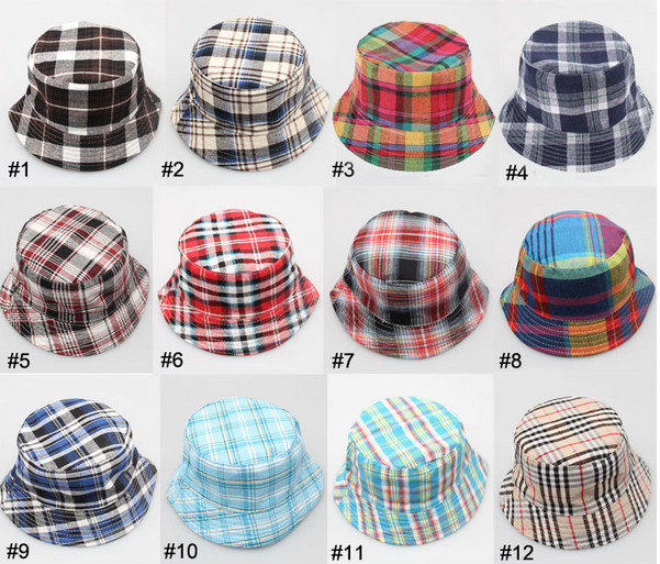 Reatail baby girls Plaid Print hats & caps summer Kids Striped Canvas fisherman Hats boys bucket children accessories - shuang wang's store