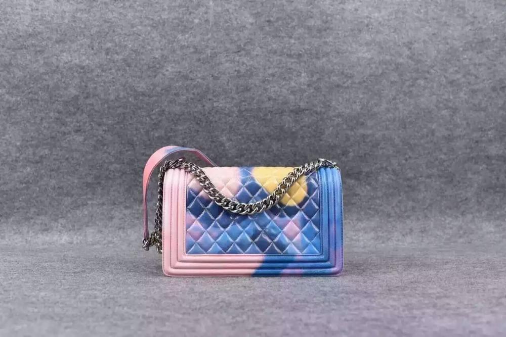 New 2016 Women Fashion original lambskin colored shoulder chain bag/designer sheepskin genuine leather quilted handbags 25 cm(China (Mainland))