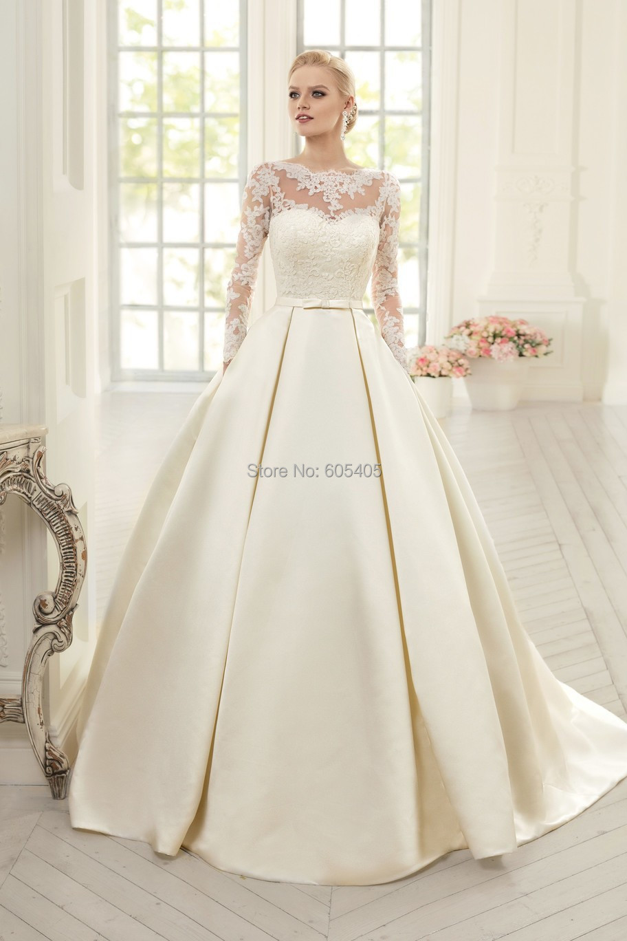 Elegant simple long sleeve wedding dresses with lace 2015 for Simple long sleeve wedding dresses