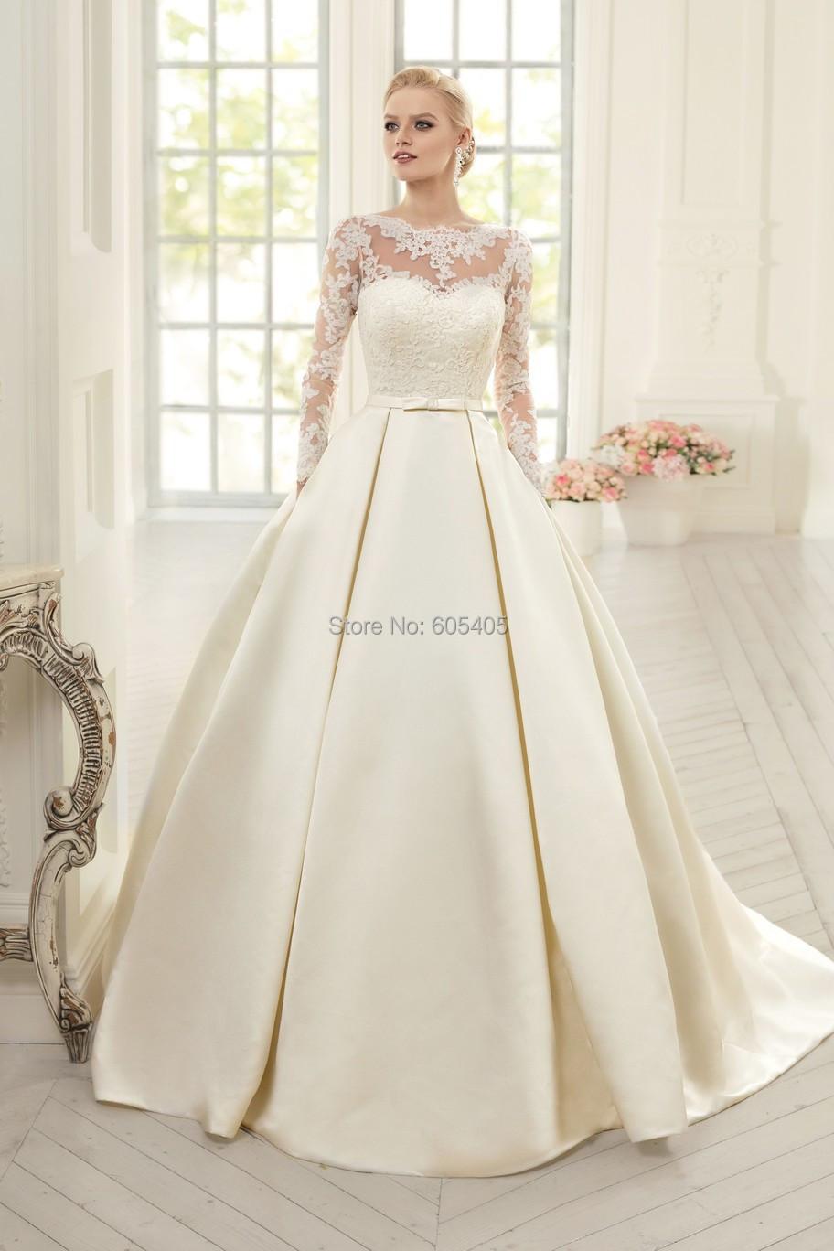 Simple et élégant manches longues robes De mariée avec dentelle ...