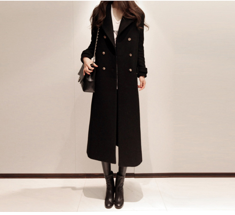 fall winter 2015 ladies long fashion temperament cultivate one's morality double-breasted tweed coat - newbrieflife store