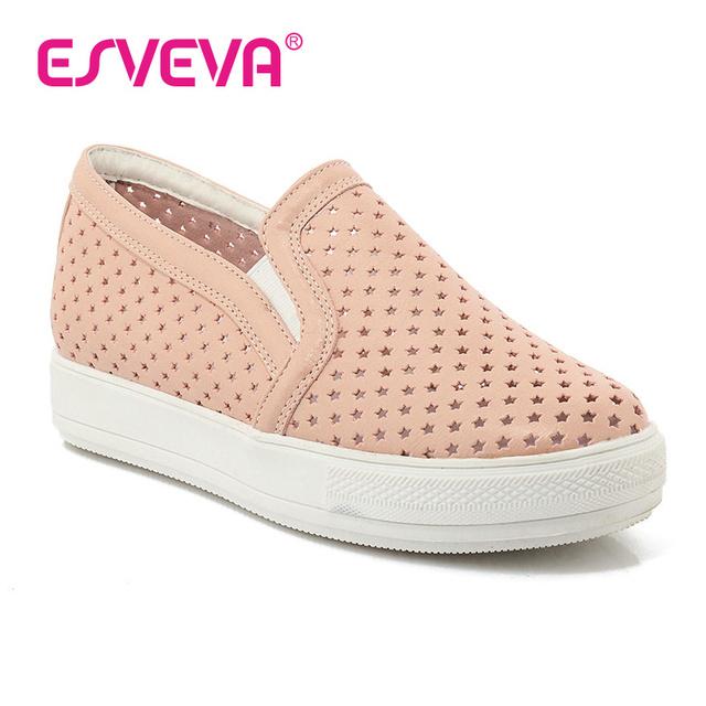 Женщина туфли-ботинок плоские туфли на высоких каблуках летом кат-аутов круглый носок свободного покроя мокасины женщины мягкой кожи на плоской подошве платформы большой размер 34 - 43