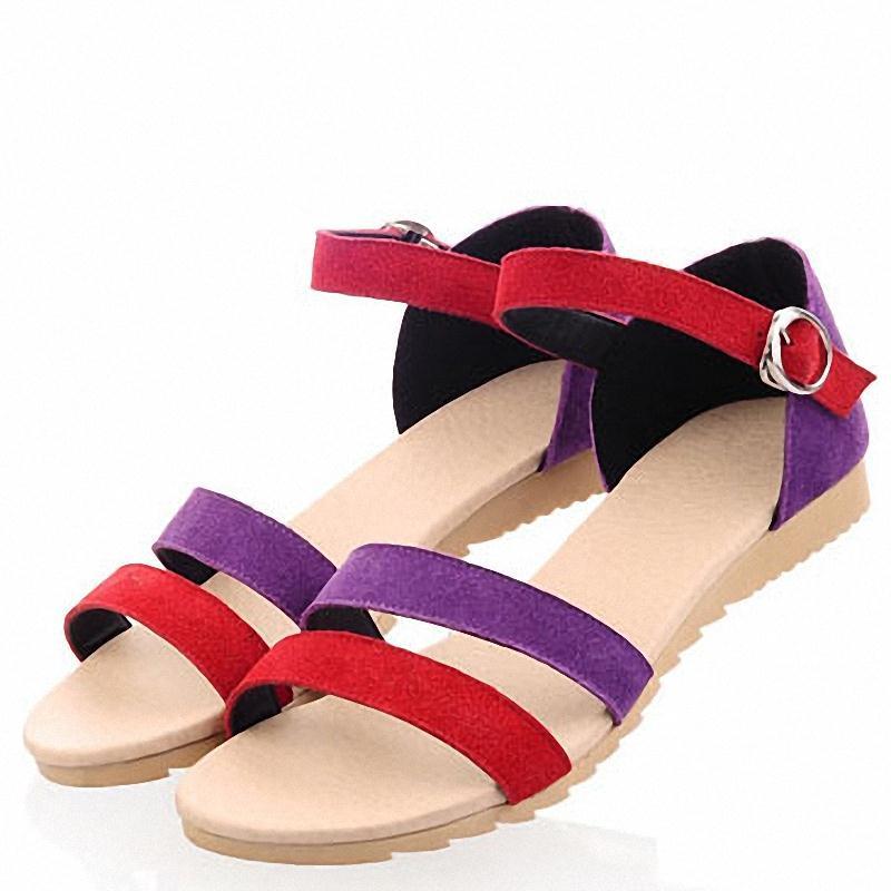 ENMAYER Women Sandals New flats Sandals Mixed Colors Bohemian Shoes Flock Open toe Platform Sandals shoes women Summer size34-43<br><br>Aliexpress