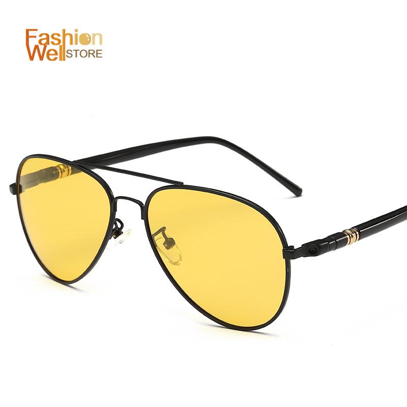 Men Yellow Polarized Sunglasses UV 400 Night Vision Driving Mirrors Sport Eyewear Glasses Male Googles gafas de sol hombre(China (Mainland))